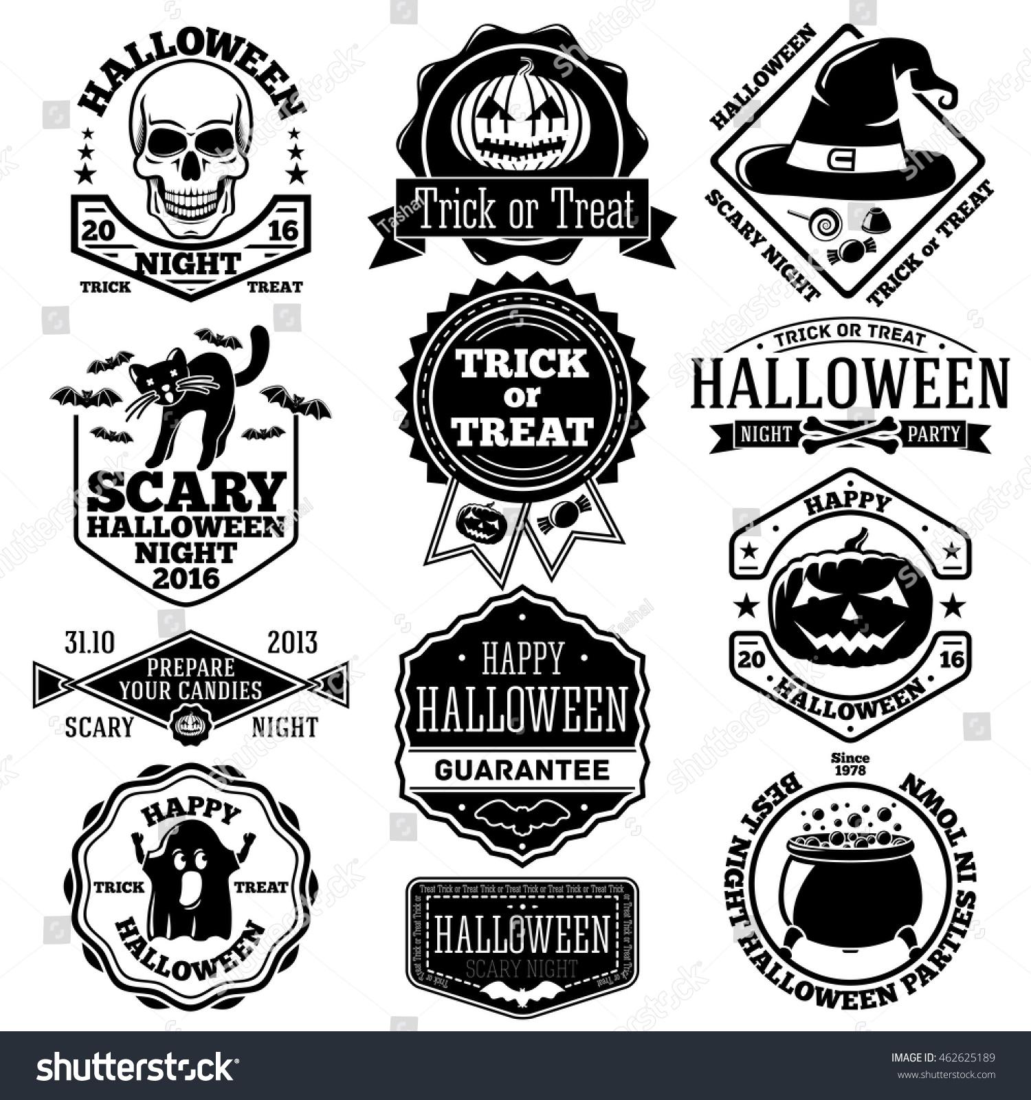 Vector Halloween Labels Badges Set With Kcull Pumpkin