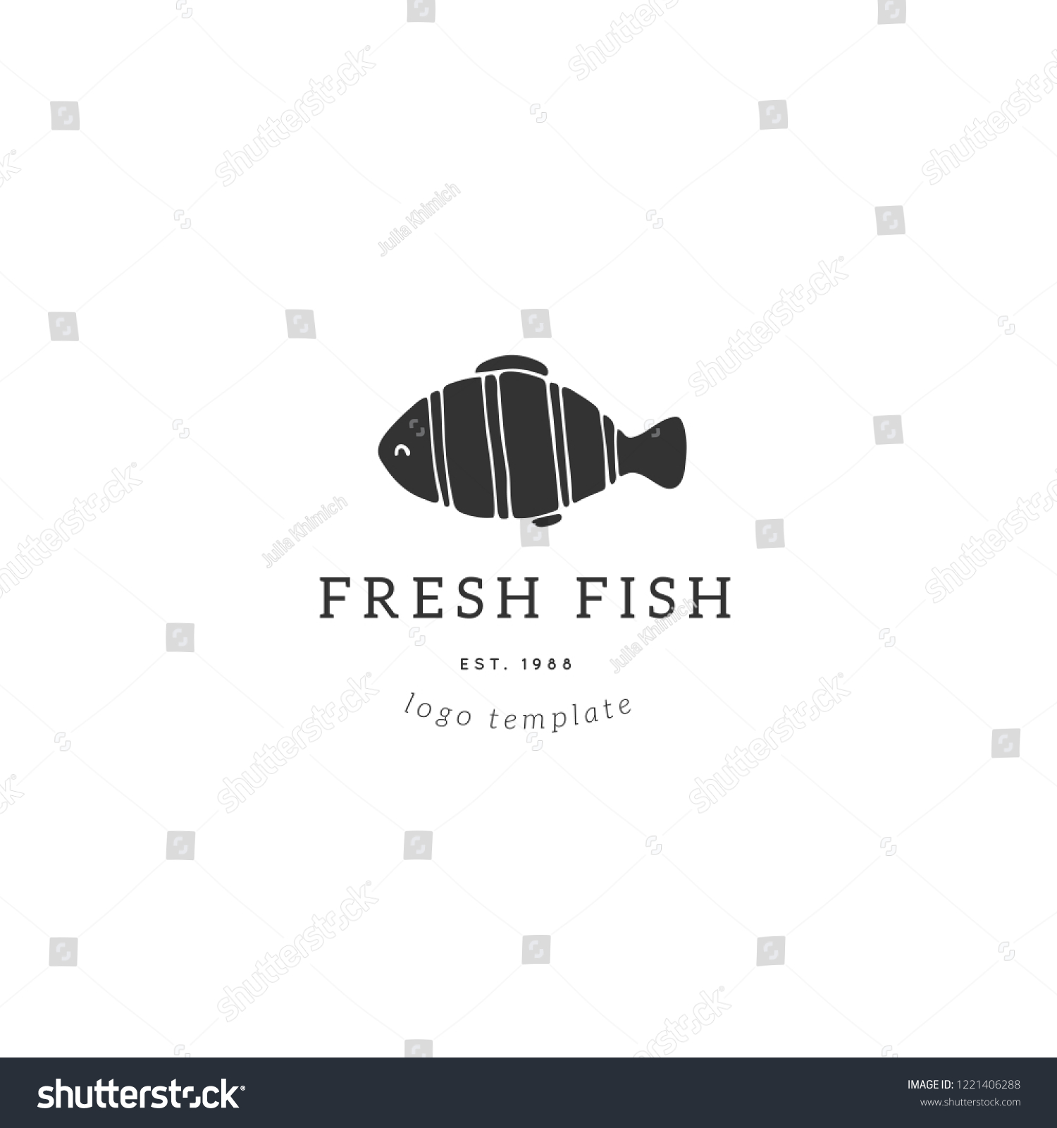 hight resolution of vector hand drawn logo template tropical fish illustration for badges labels logotypes