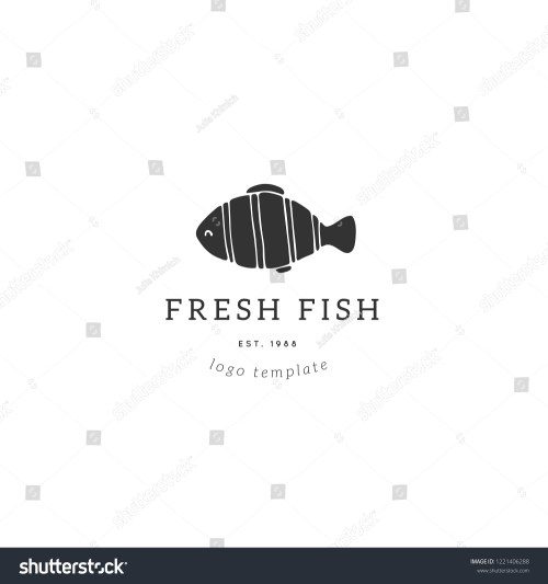 small resolution of vector hand drawn logo template tropical fish illustration for badges labels logotypes