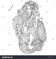 vector hand drawn sea mermaid long
