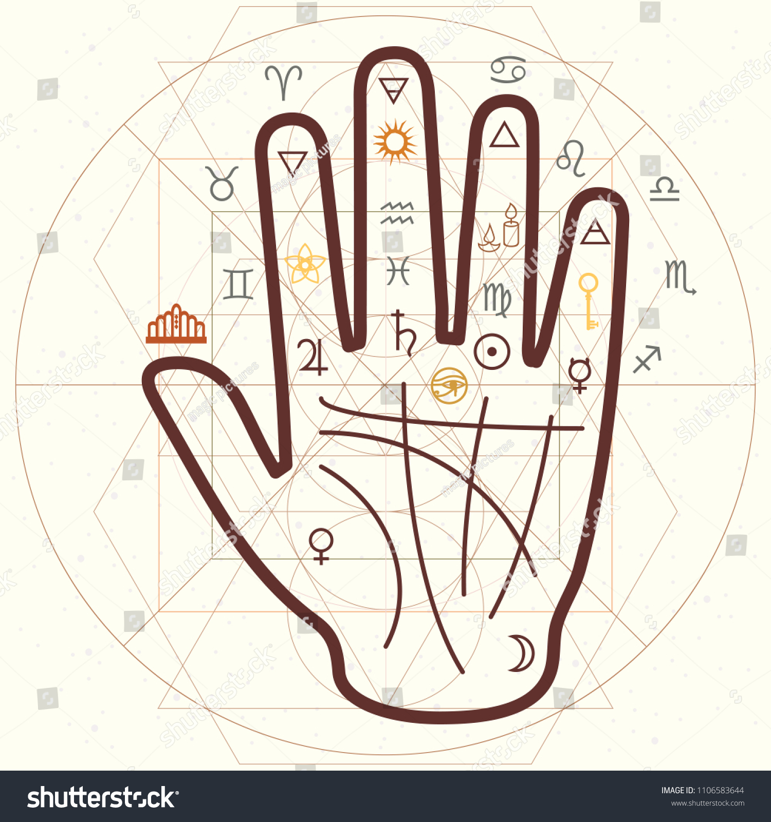 hight resolution of vector horizontal illustration of palm reading and scared symbols in retro style vintage colors