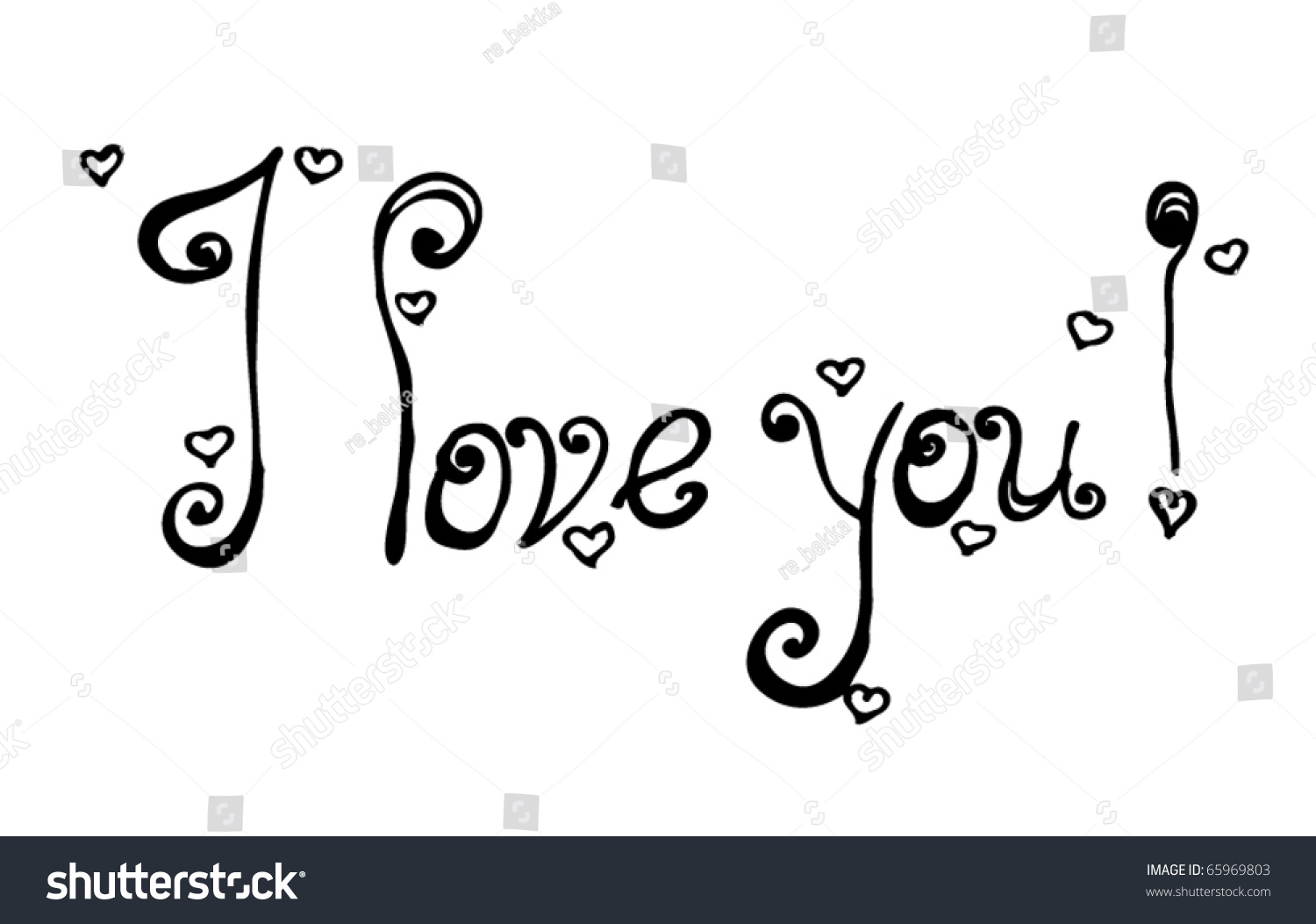Vector Love You Text Handwriting Stock Vector