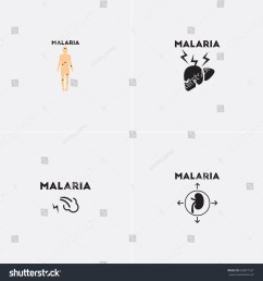 vector icons collection various symptoms of malaria on the human [ 1500 x 1600 Pixel ]