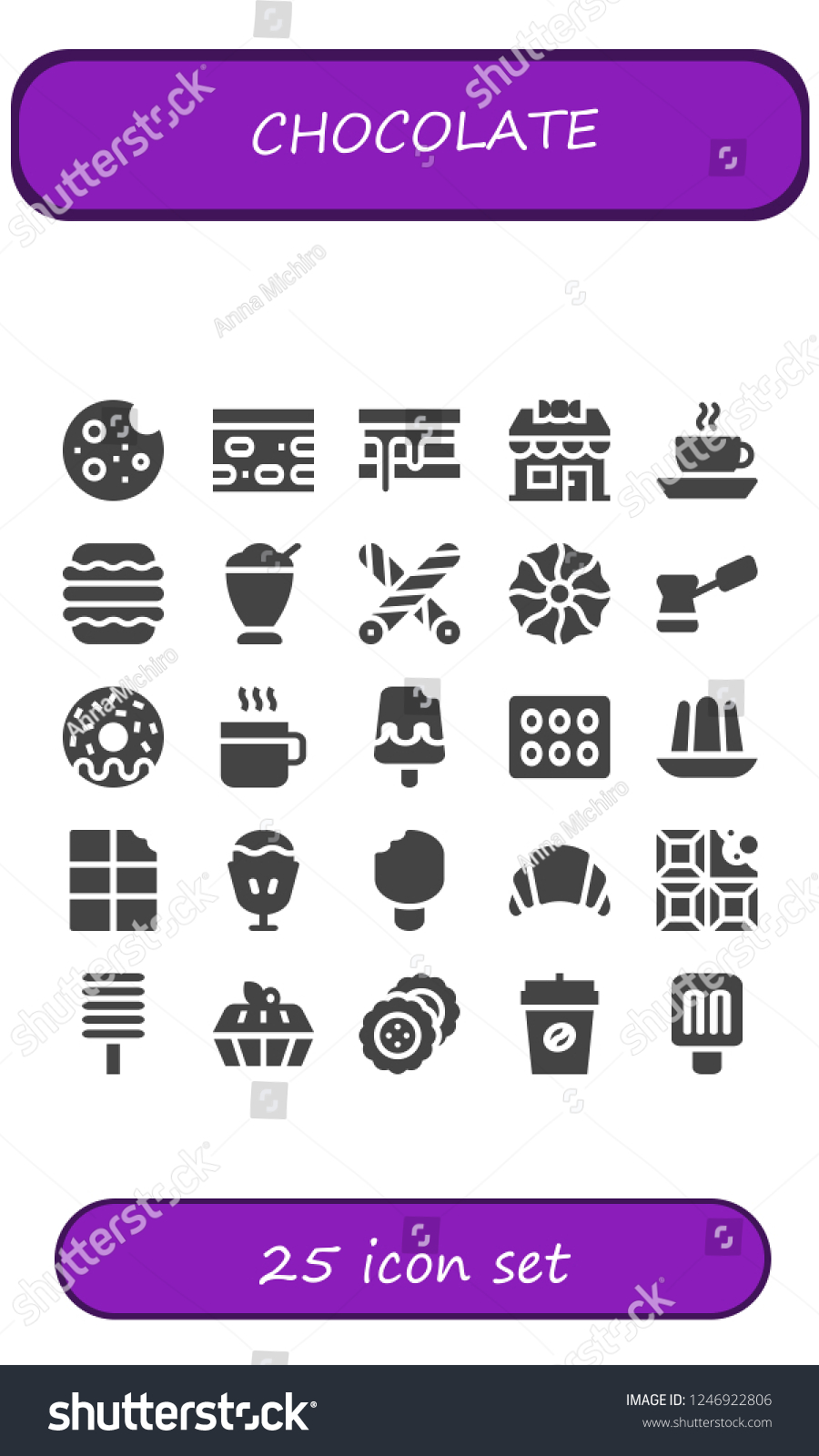 hight resolution of vector icons pack of 25 filled chocolate icons simple modern icons about cookie