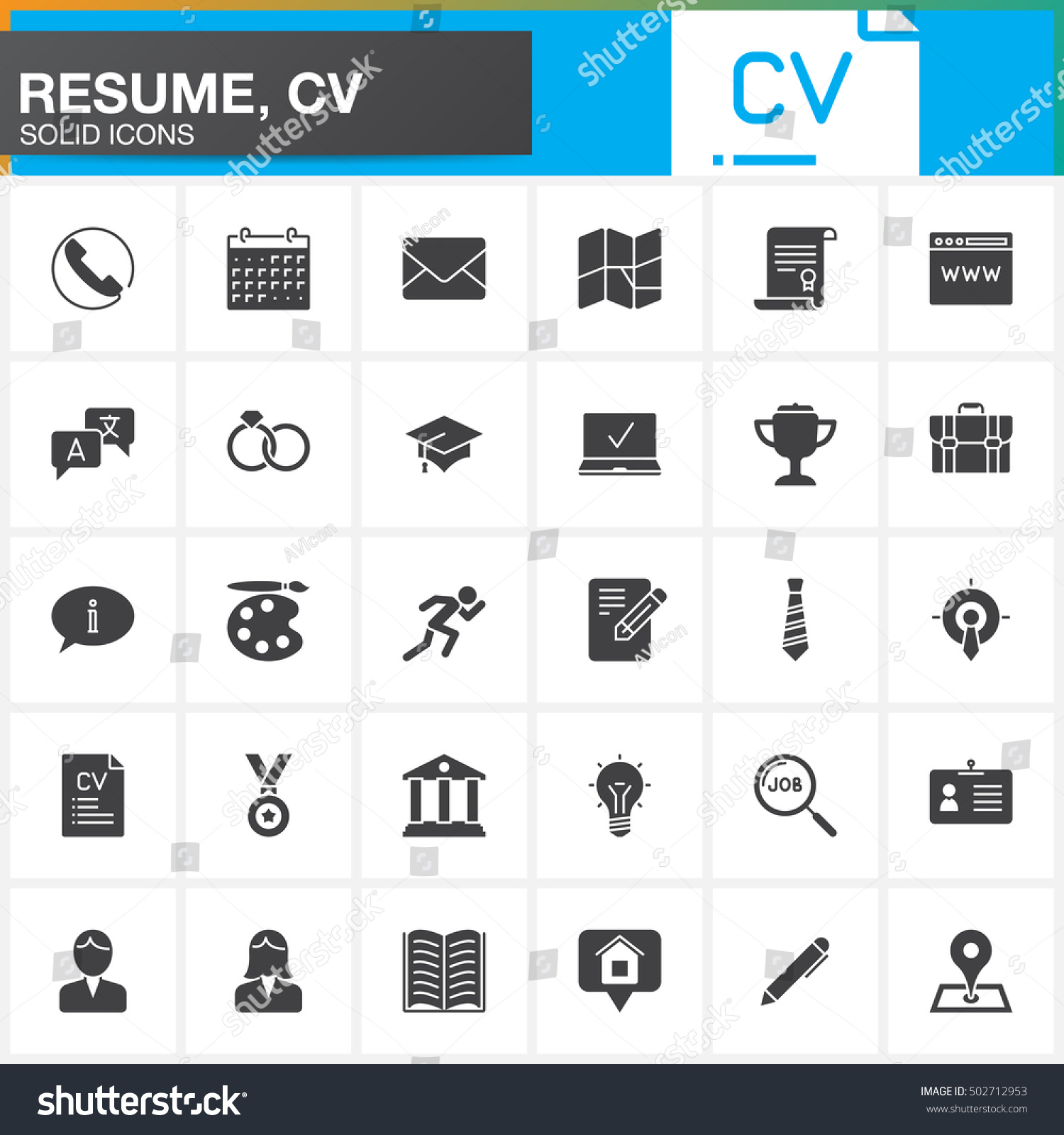 Vector Icons Set For Resume Or Cv. Modern Solid Symbol Collection, Filled  Pictogram Pack