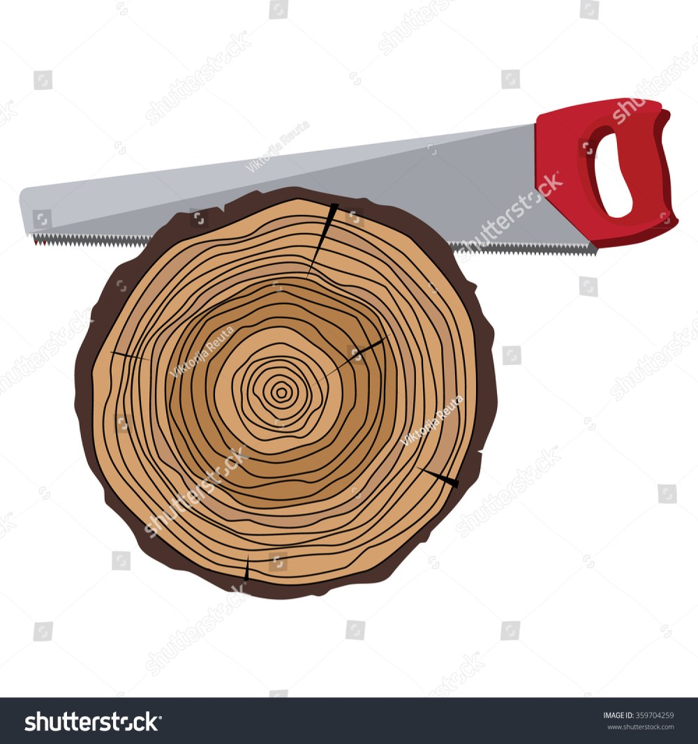 medium resolution of vector illustration cutting tree with hand saw tree rings saw cut tree trunk annual tree growth rings