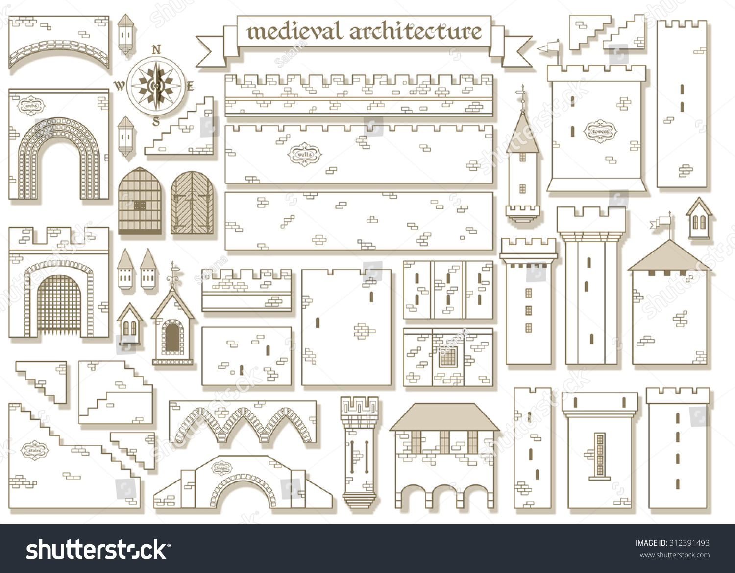 Vector Illustration Graphic Architectural Elements Of The