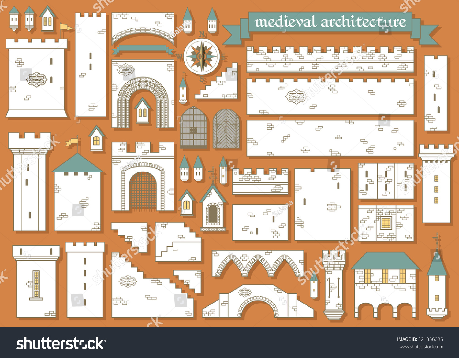 Vector Illustration Graphic Elements Parts Middle Stock