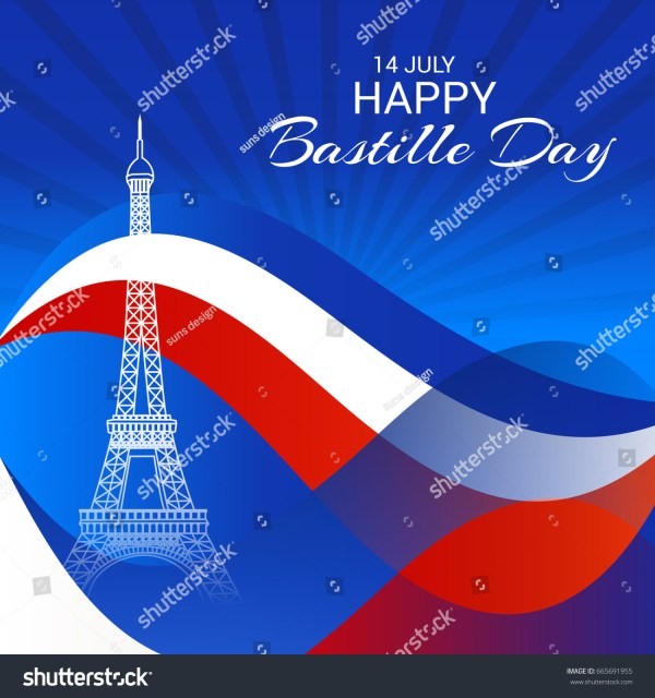 Vector Illustration Banner Happy Bastille Day Stock