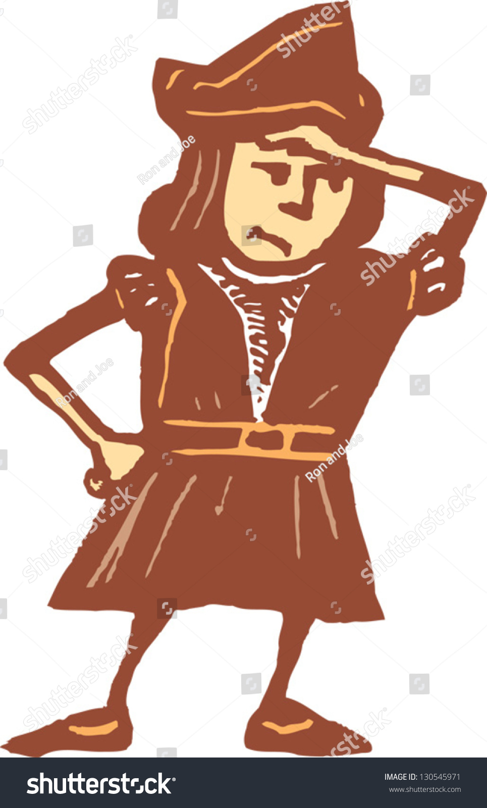 hight resolution of vector illustration of a boy in christopher columbus costume