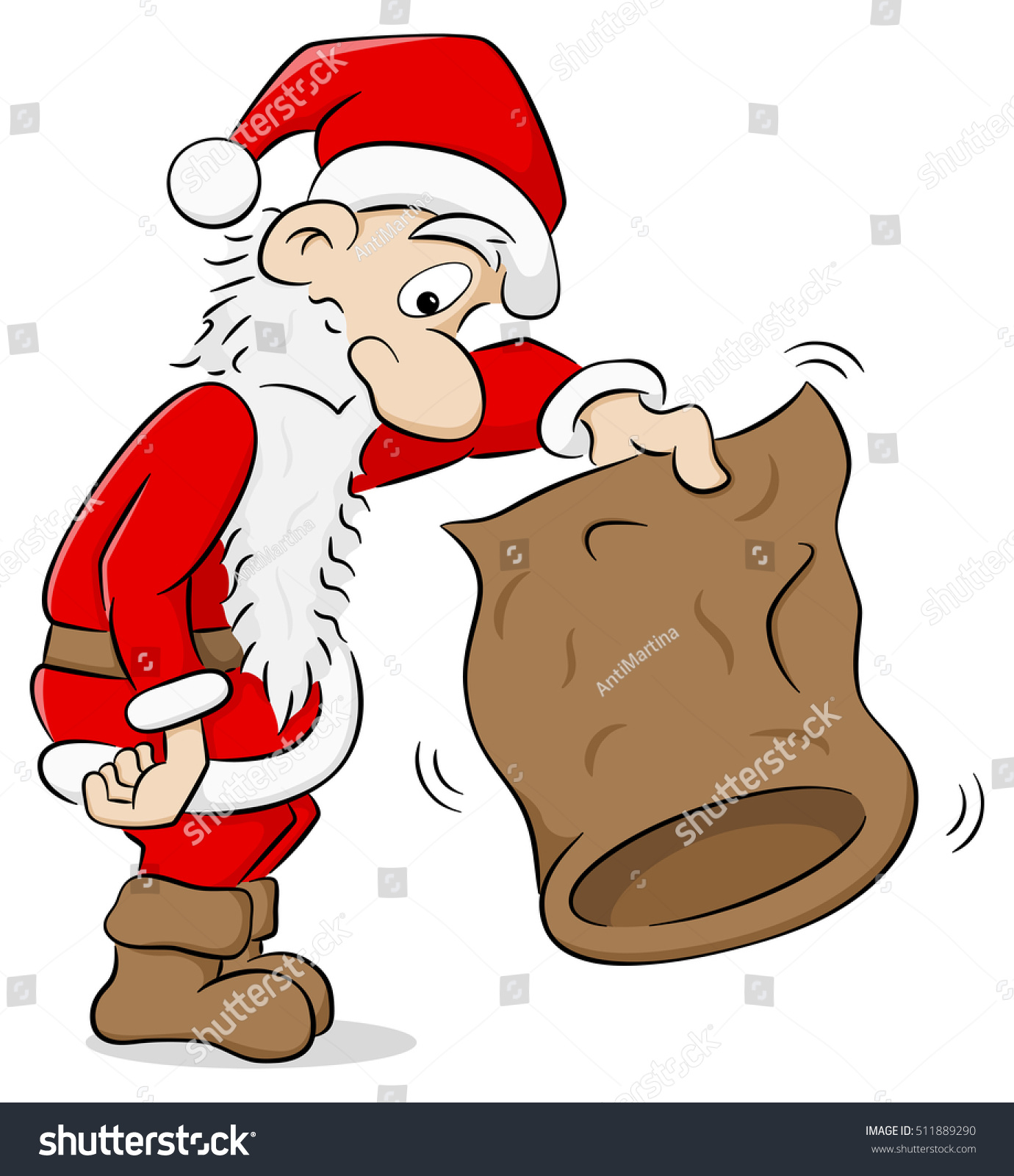 Vector Illustration Santa Claus Empty Bag Stock Vector
