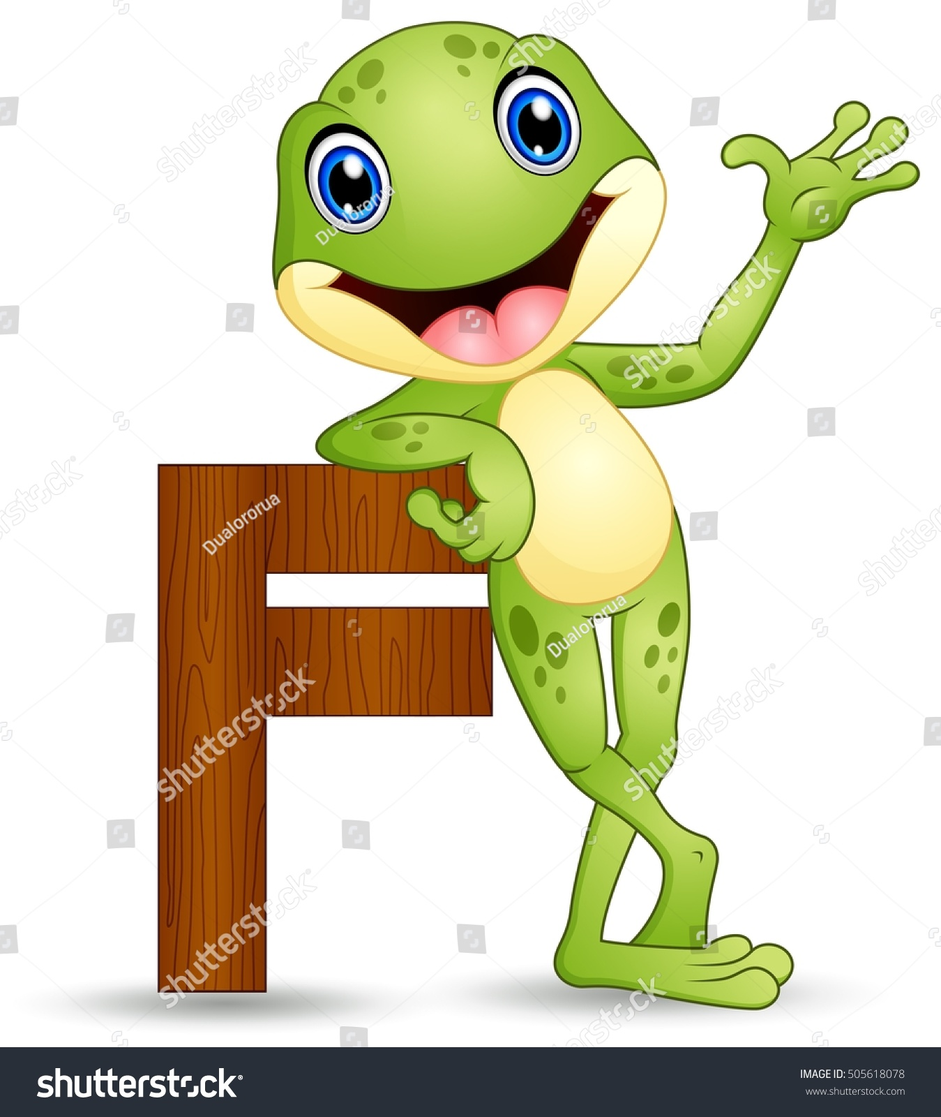 Vector Illustration Alphabet F Frog Cartoon Stock Vector