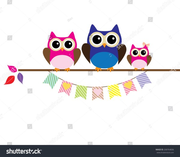 Vector Illustration Owl Family Bunting Hearts Stock 268764836 - Shutterstock