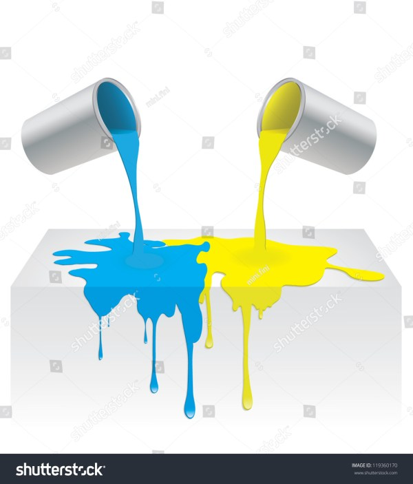 Vector Illustration Of Blue And Yellow Color Paint Pouring Dripping