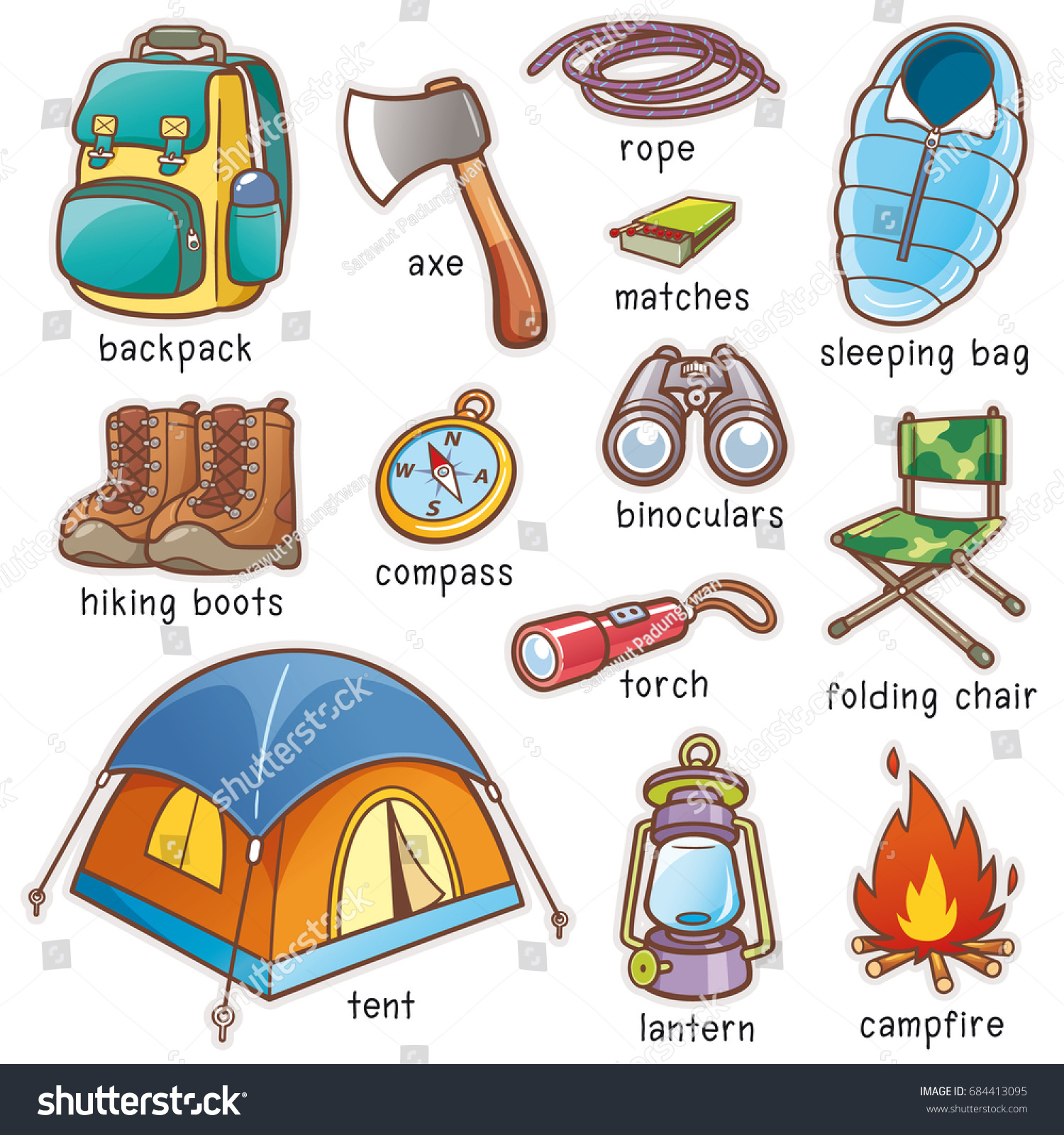 Vector Illustration Cartoon Camping Equipment Vocabulary