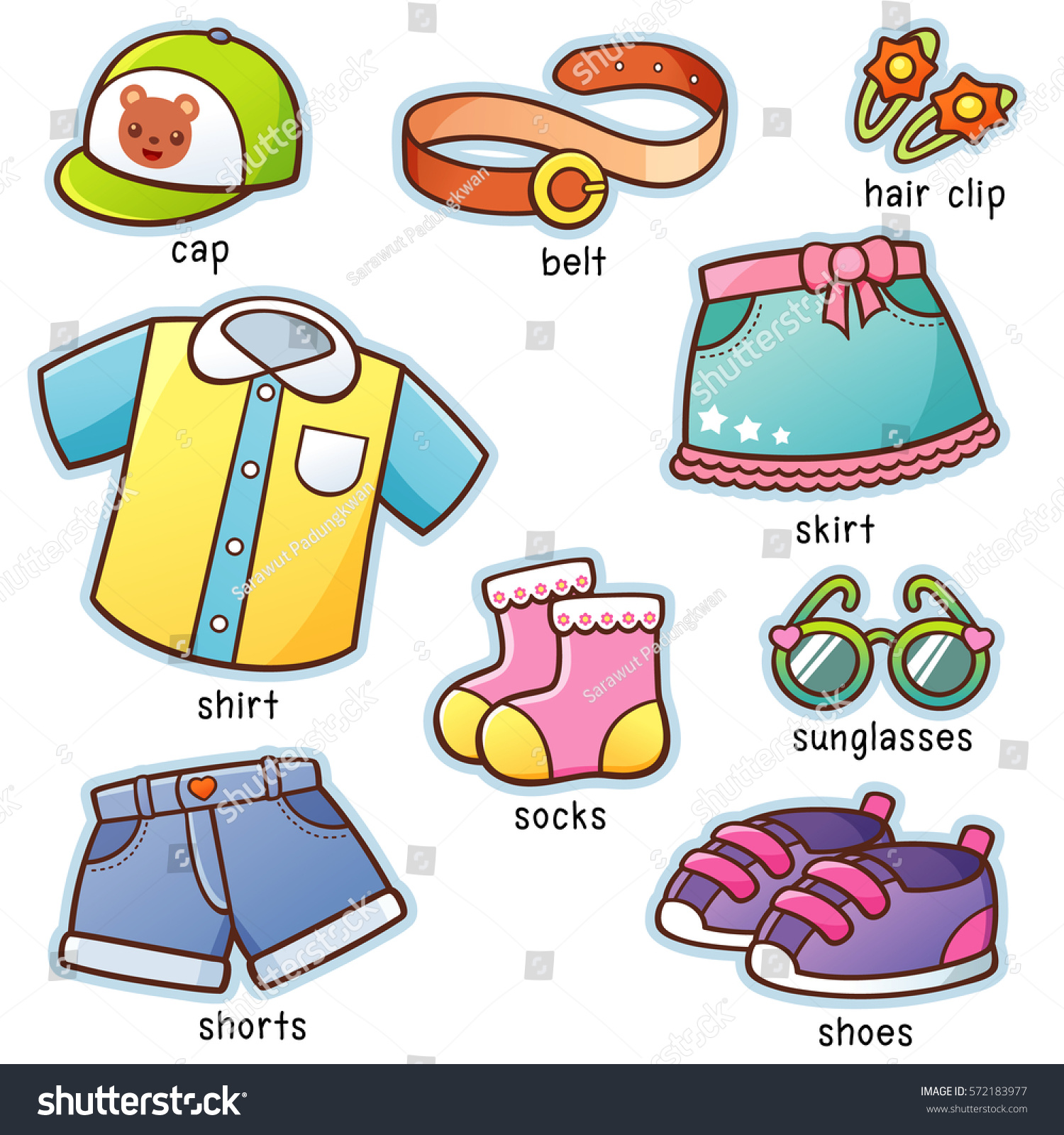 Vector Illustration Cartoon Clothes Vocabulary Stock