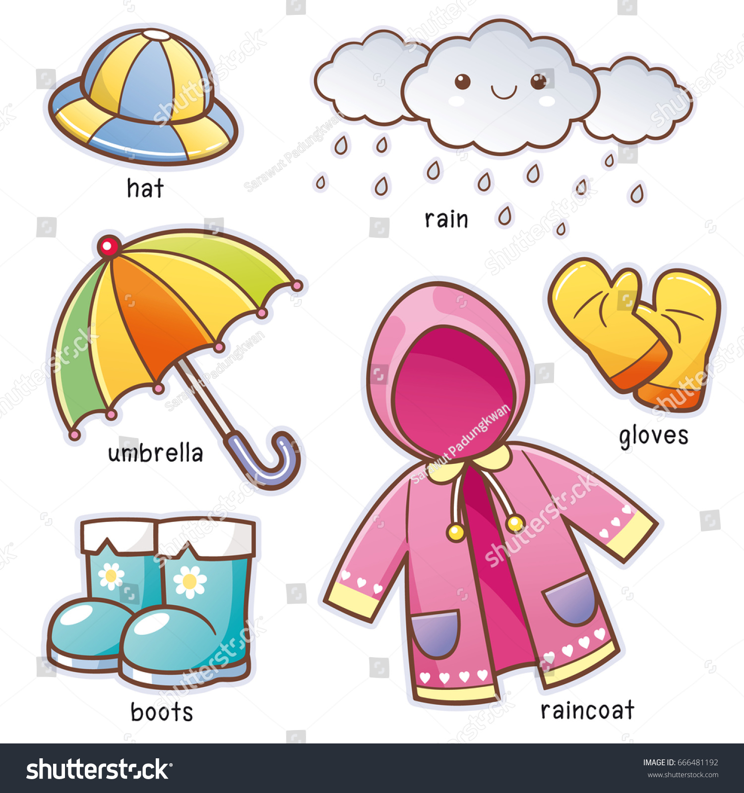 Vector Illustration Cartoon Rain Clothes Vocabulary