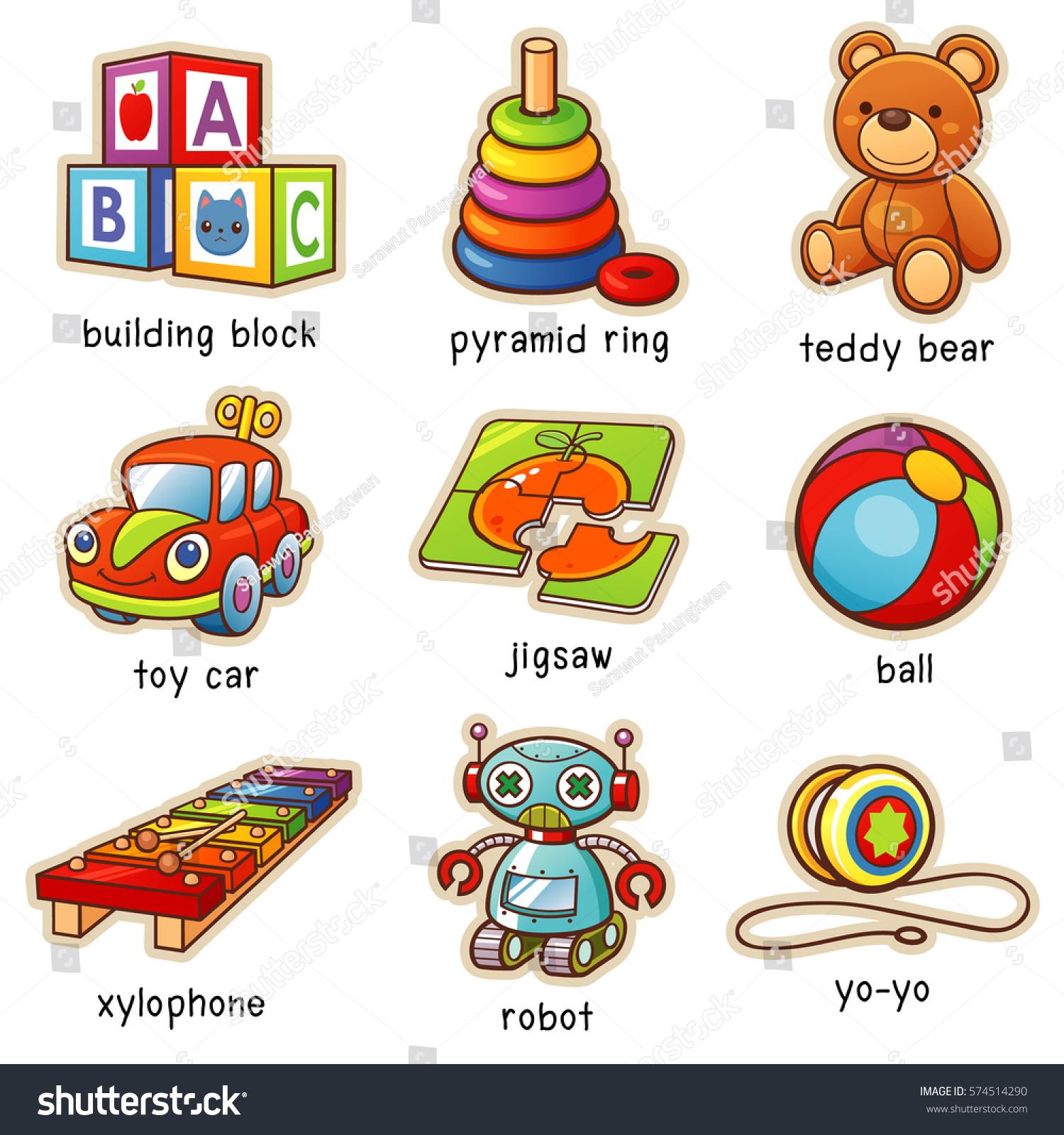 Vector Illustration Cartoon Toys Vocabulary Stock Vector