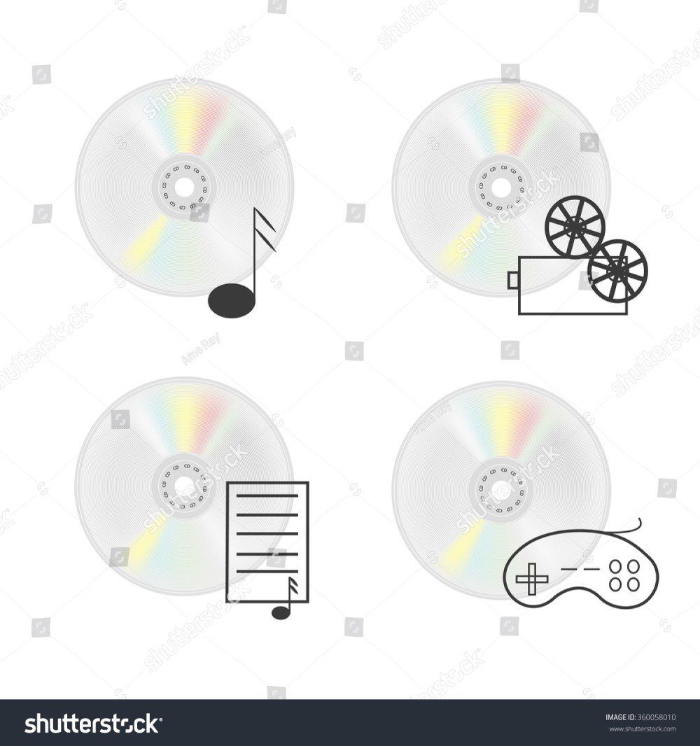 medium resolution of vector illustration of cd disk compact disc isolated on a white background vector icons