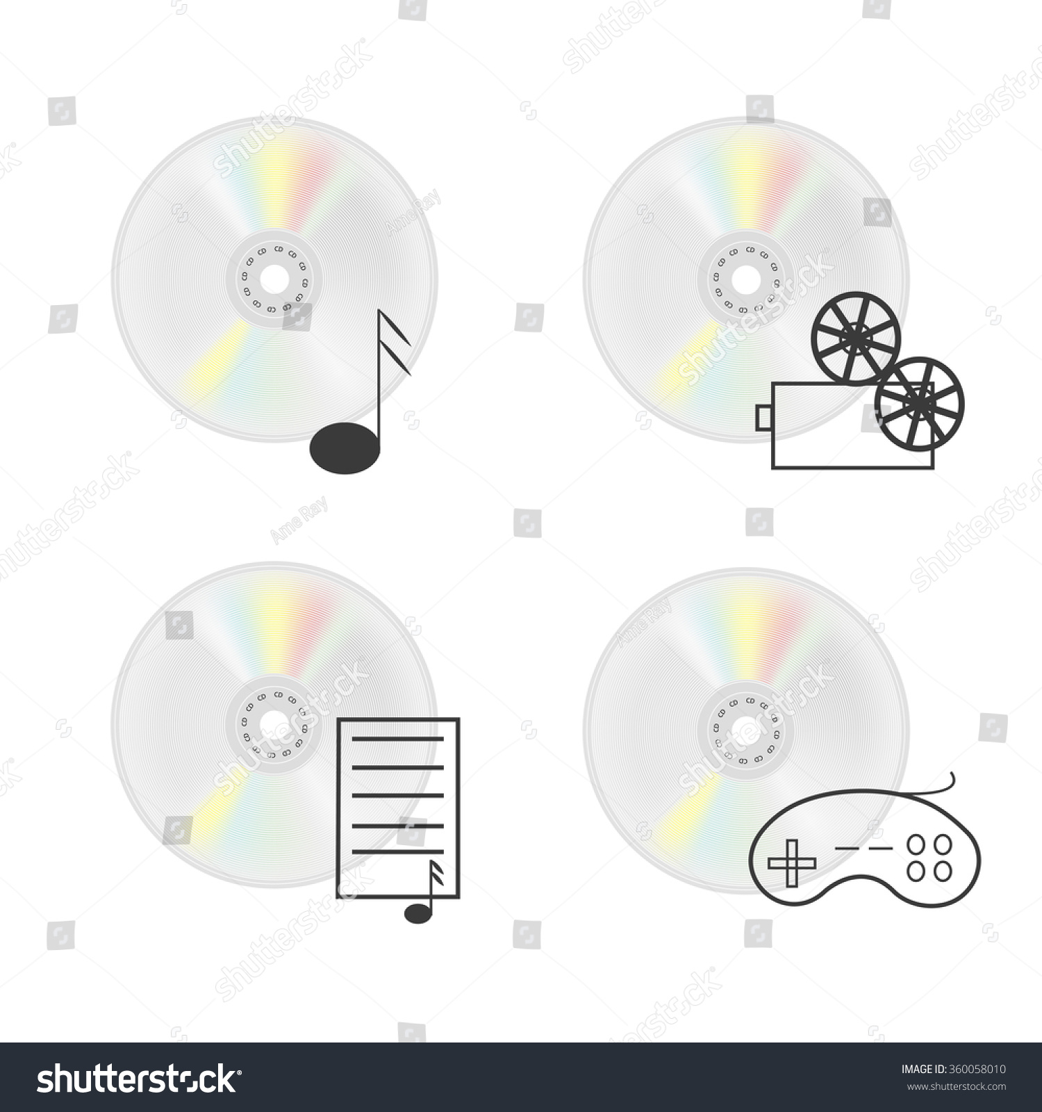 hight resolution of vector illustration of cd disk compact disc isolated on a white background vector icons