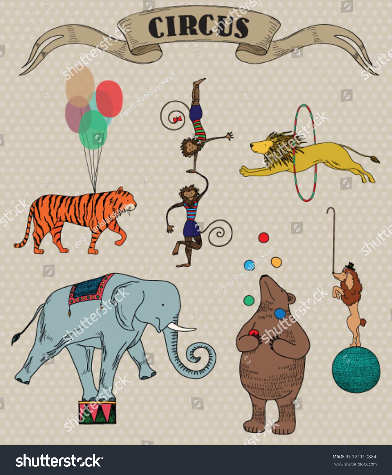 Vector Illustration Circus Animals Retro Style Stock