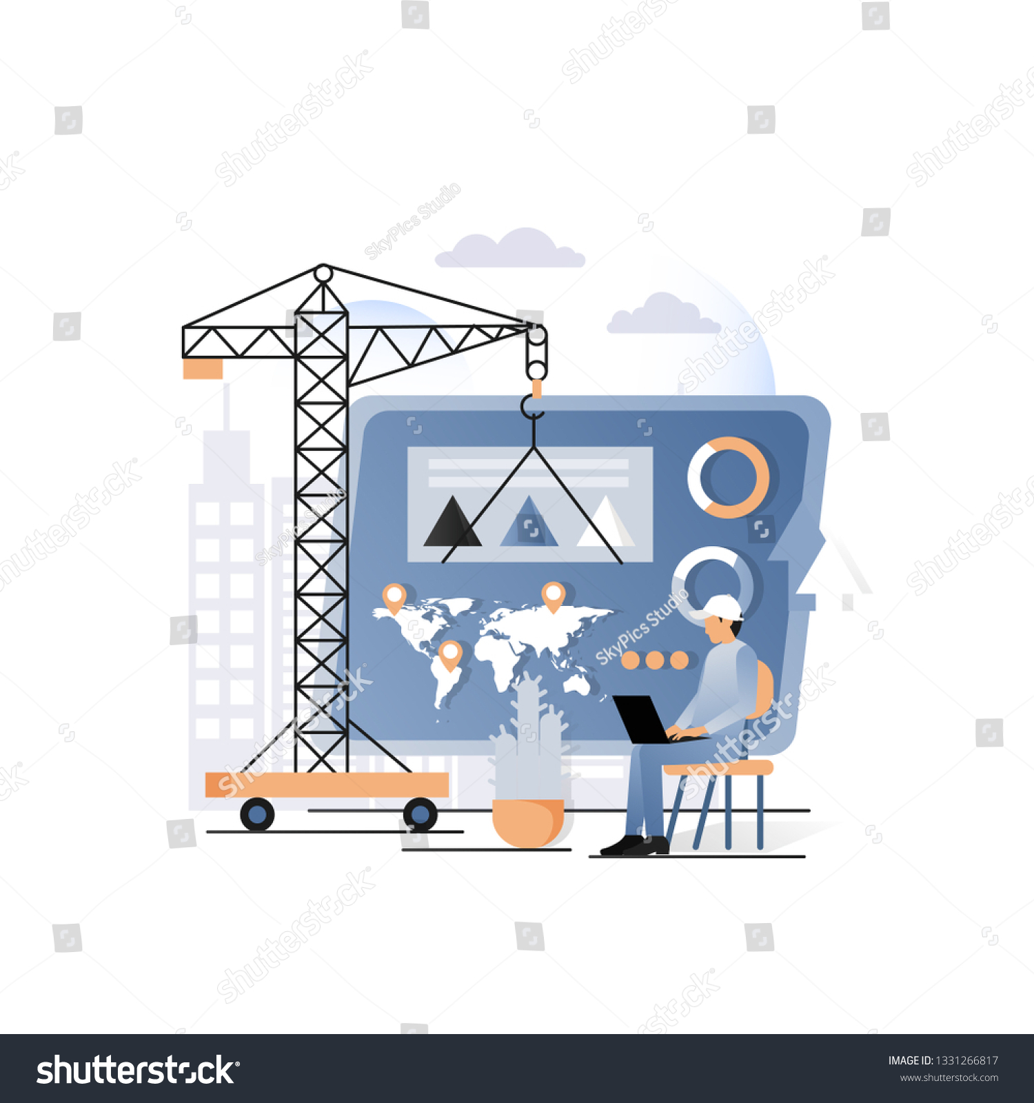 hight resolution of vector illustration of construction crane building business activity diagram on dashboard business building data