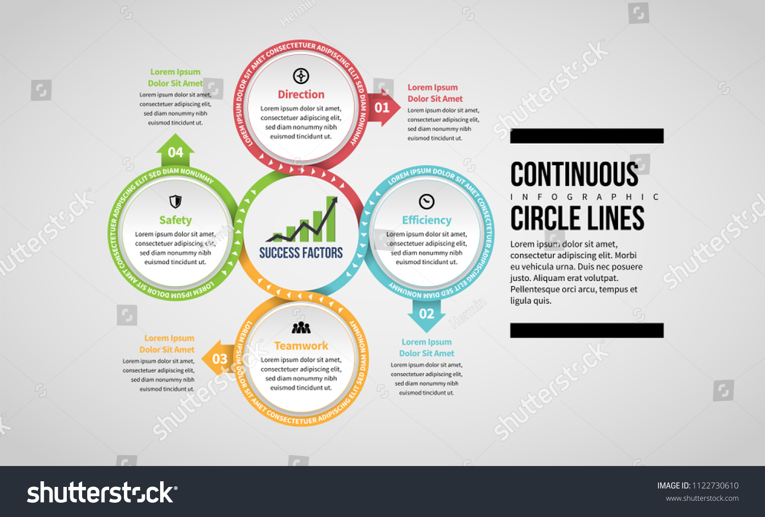 hight resolution of vector illustration of continuous circle lines infographic design element