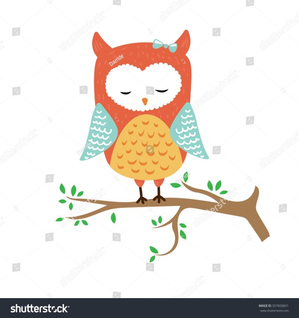 Vector Illustration Cute Sleeping Owl Stock 557650831 - Shutterstock