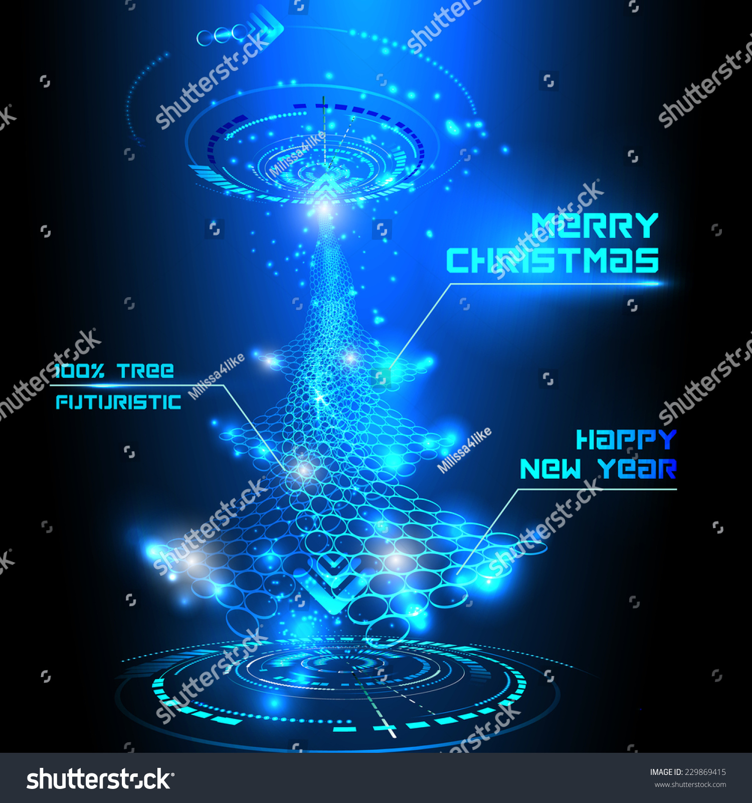 Vector Illustration Futuristic Christmas Tree Stock Vector