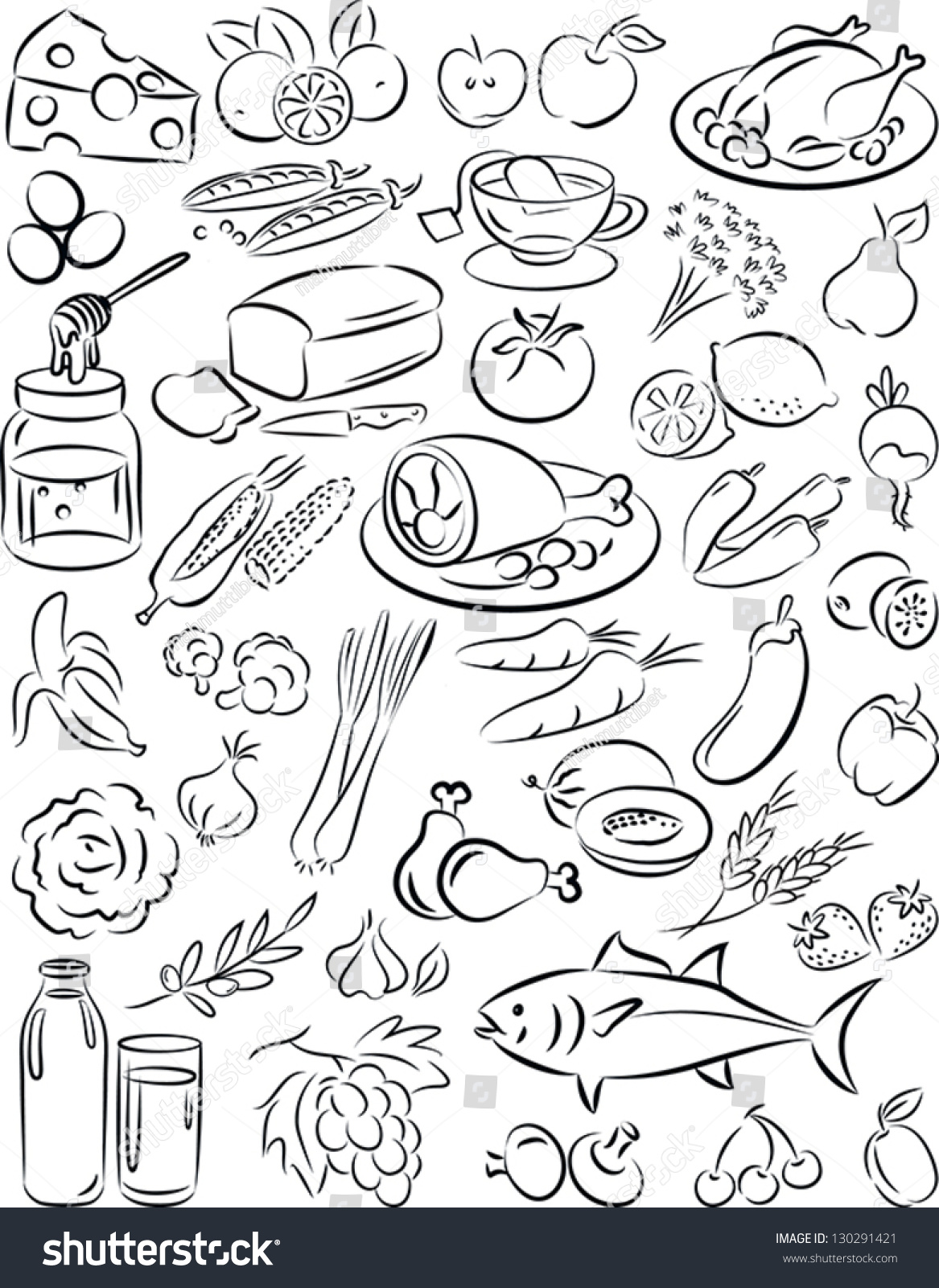 Vector Illustration Healthy Food Collection Black Stock