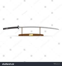 vector illustration of katana ninja sword on stand [ 1500 x 1600 Pixel ]