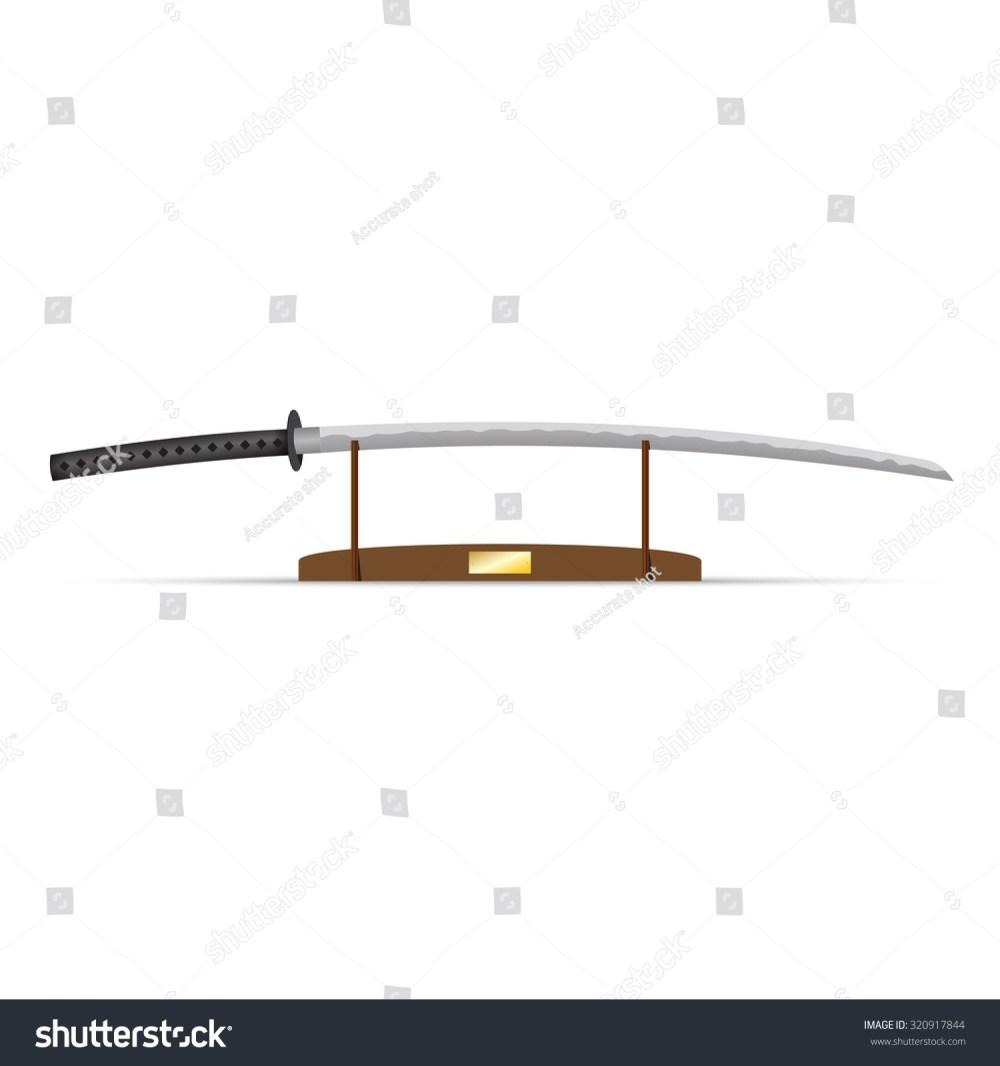 medium resolution of vector illustration of katana ninja sword on stand