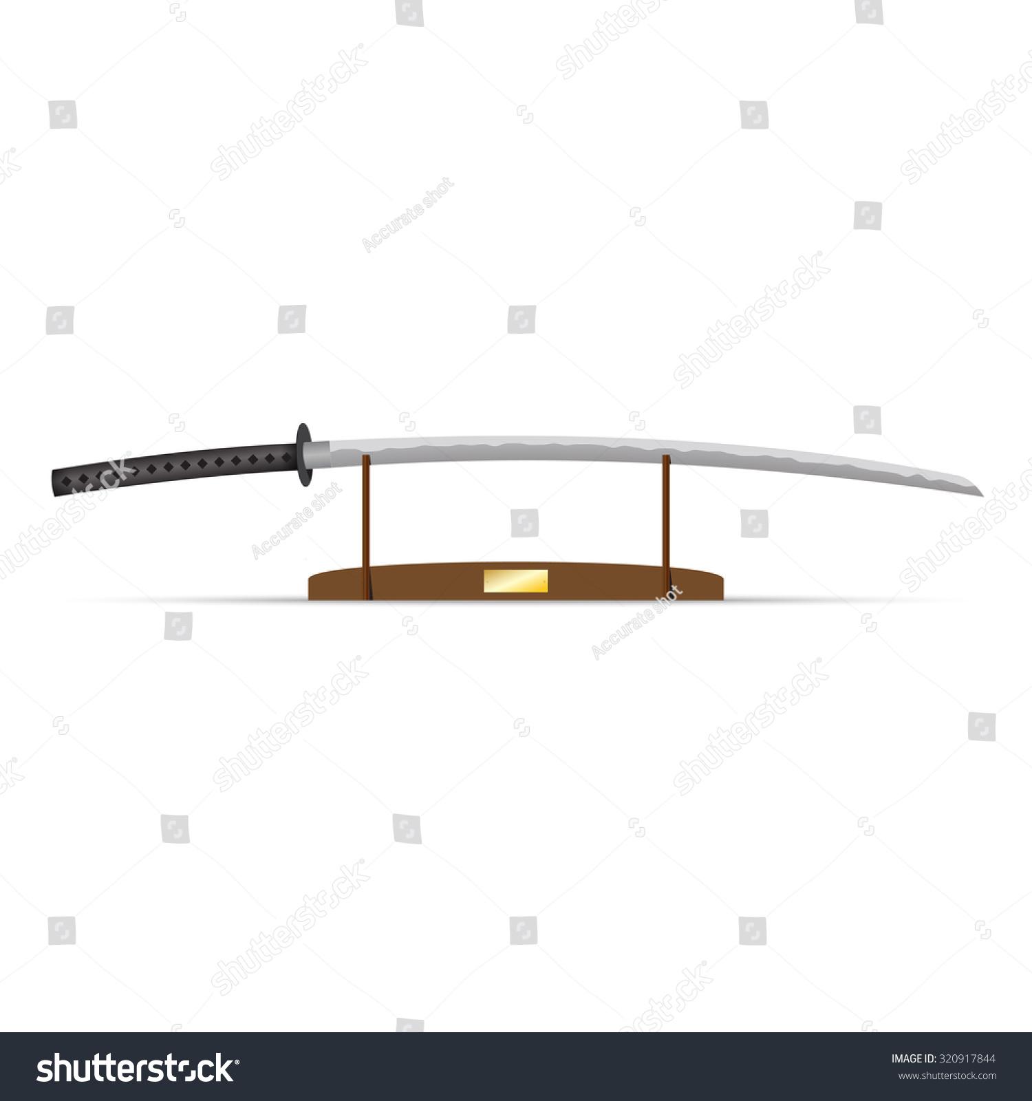 hight resolution of vector illustration of katana ninja sword on stand