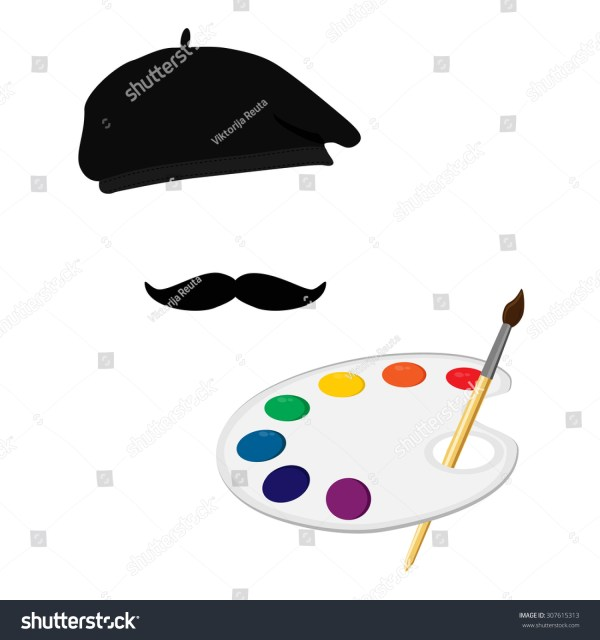 Vector Illustration Of Painter In Hat With