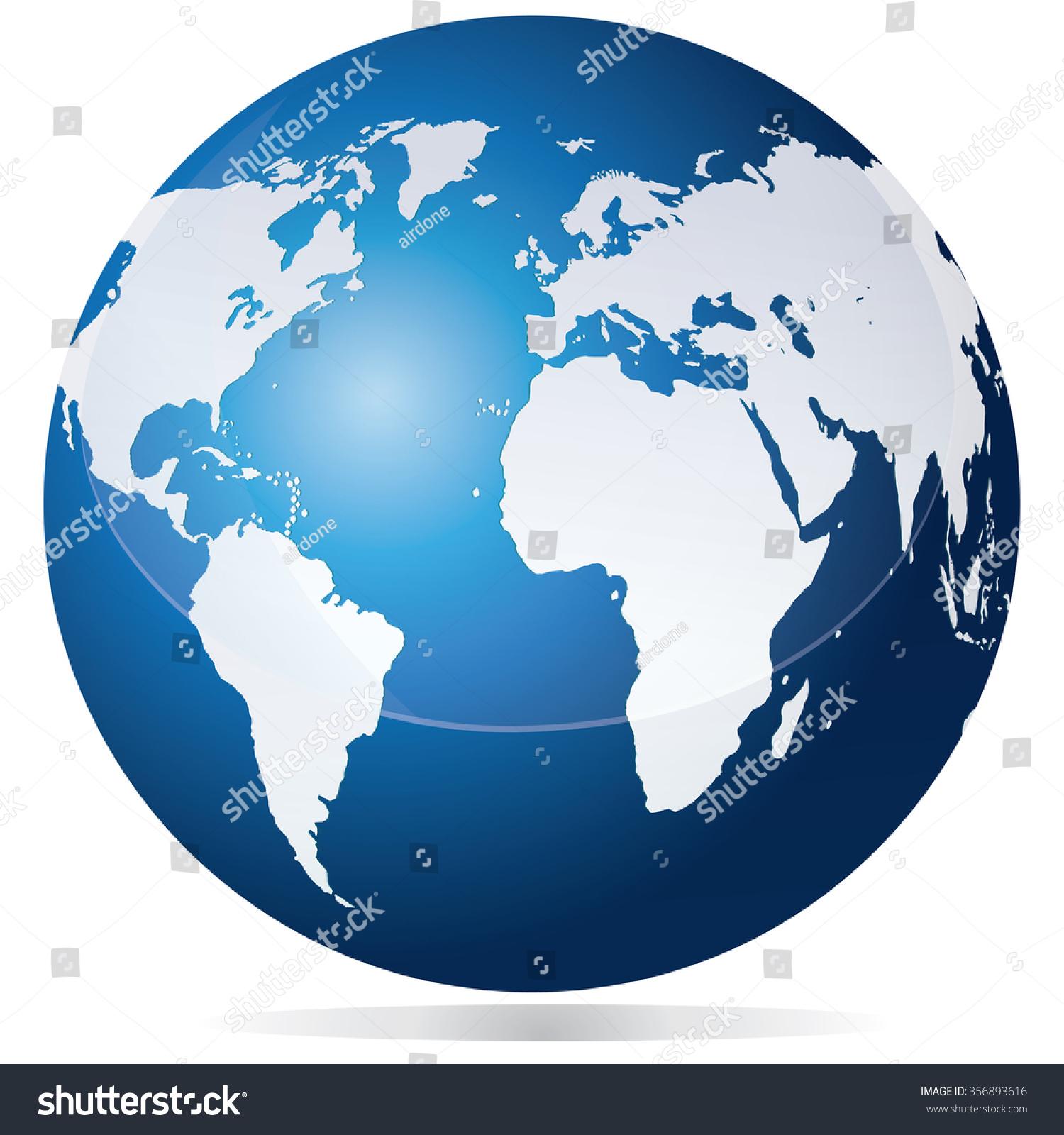 Vector Illustration Planet Earth Globe Blue Stock Vector