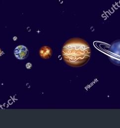 vector illustration of solar system with sun mercury venus earth moon  [ 1500 x 672 Pixel ]