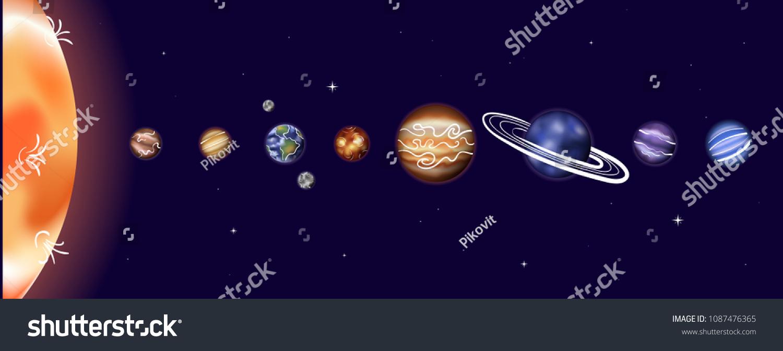 hight resolution of vector illustration of solar system with sun mercury venus earth moon