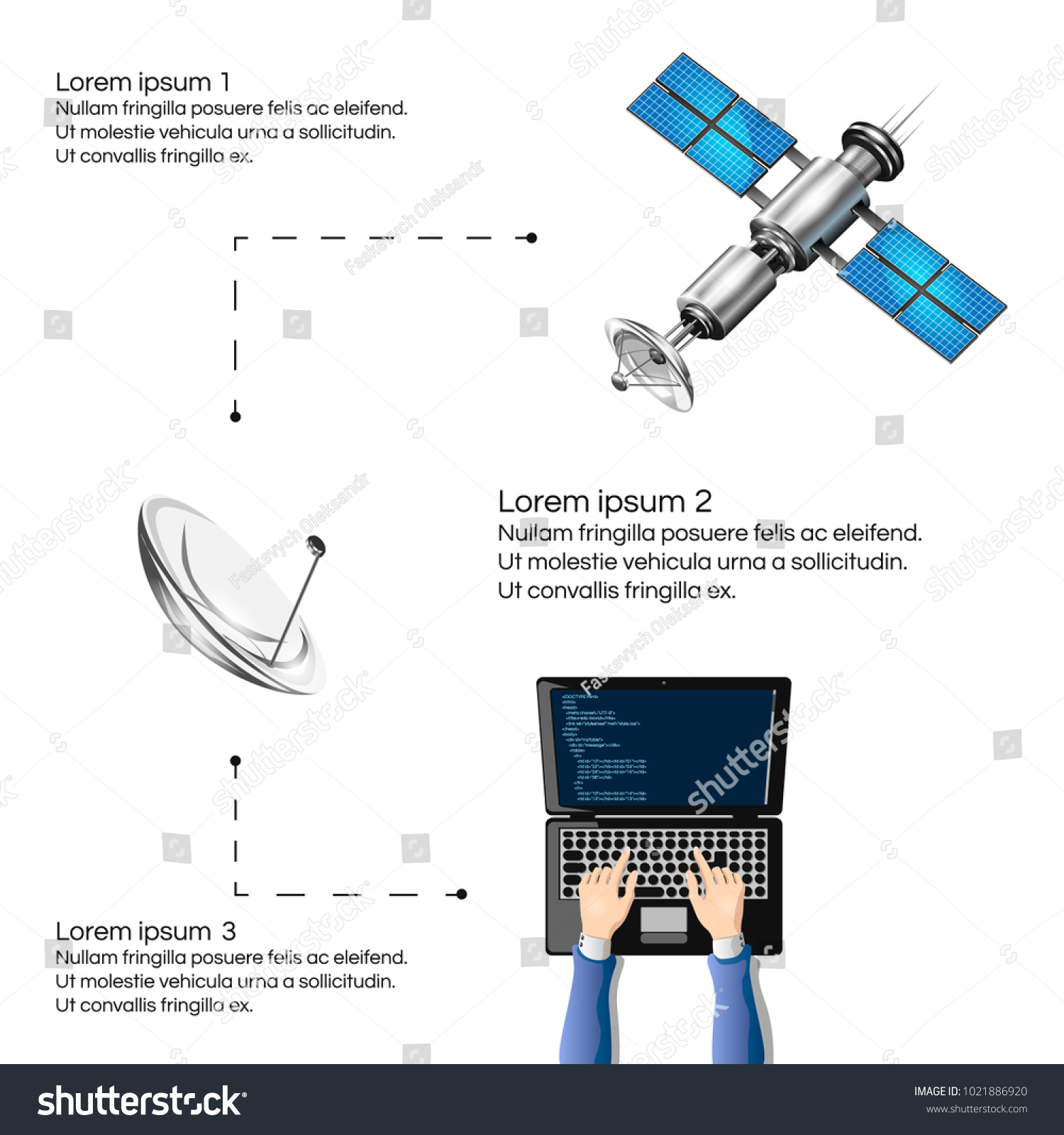 hight resolution of vector illustration of the satellite internet connection wireless satellite technology