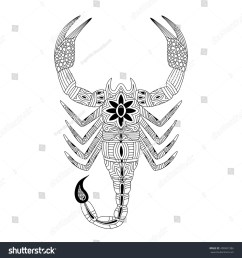 vector illustration of the scorpion in zentangle and ethcnic style zodiac symbol tattoo coloring page t shirt card poster print design  [ 1500 x 1600 Pixel ]