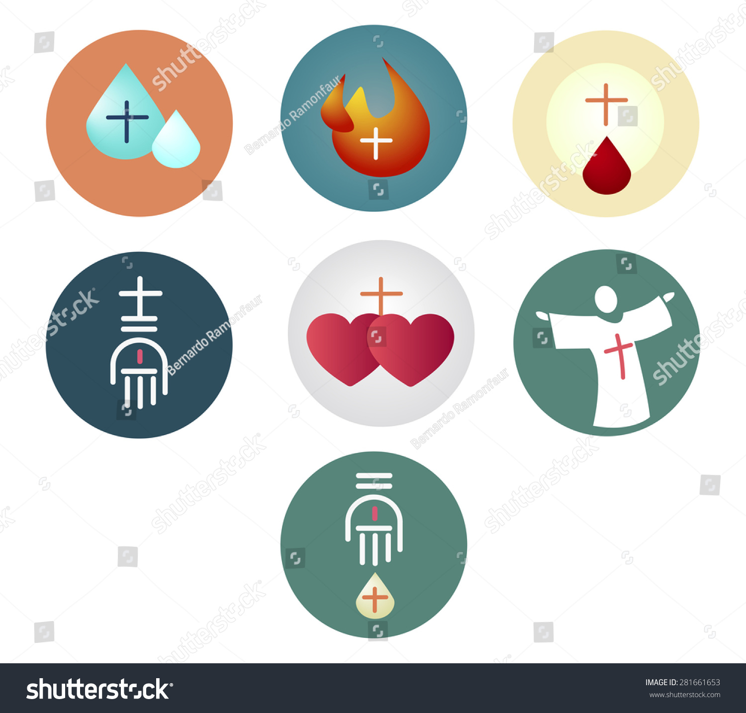 Vector Illustration Or Drawing Of The 7 Sacraments Of The