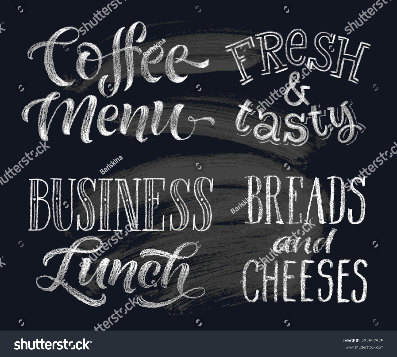 Vector Illustration Handdrawn Lettering Coffee Menu Stock