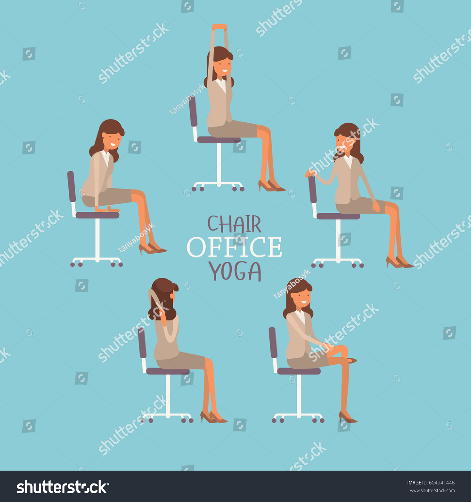 chair exercises at work brookstone bungee vector illustration office yoga business stock