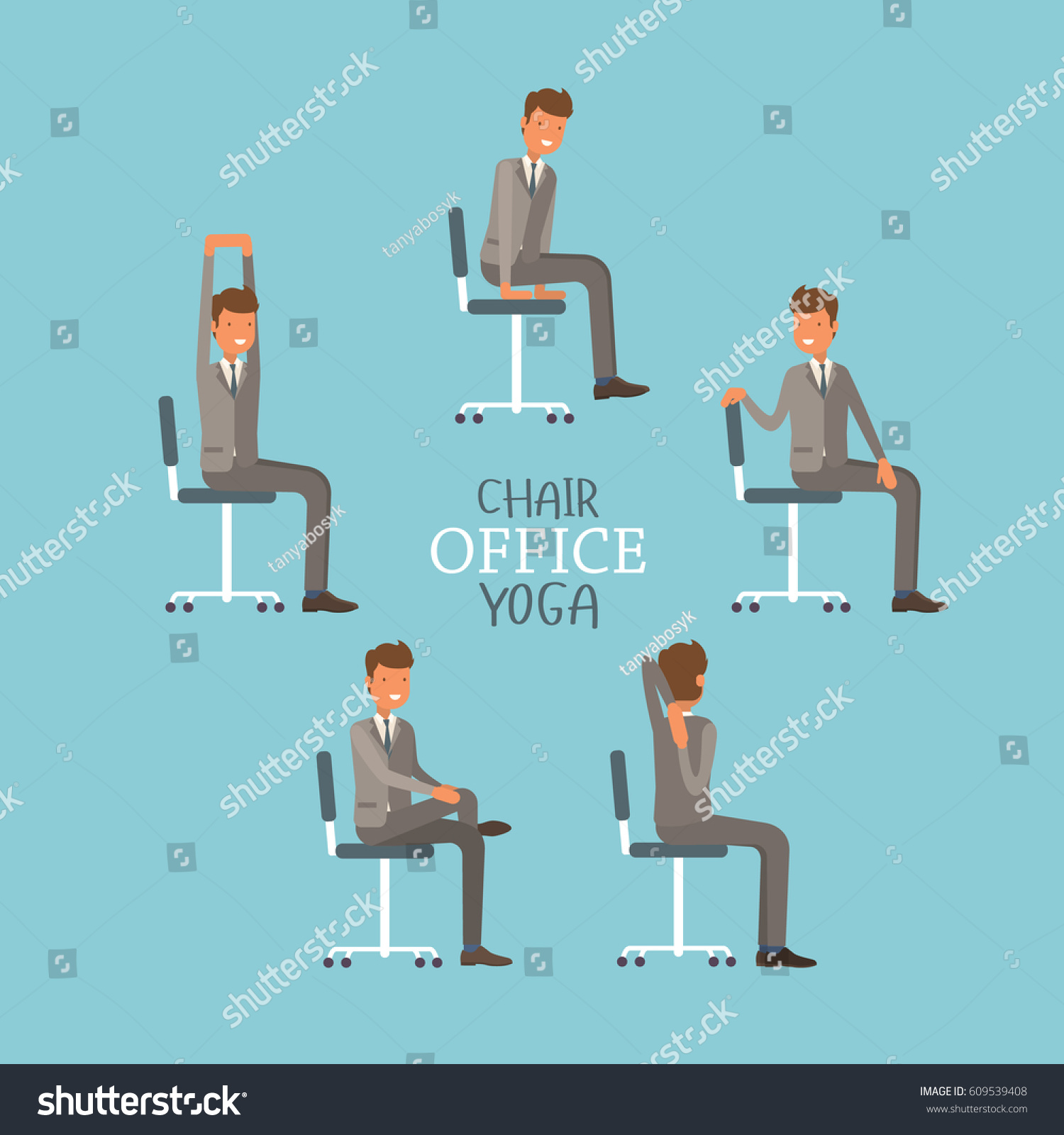 Office Chair Exercises Vector Illustration Office Chair Yoga Businessman Stock