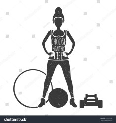 silhouette body woman outline choose healthy health banner ball illustration vector fitness dumbbells hoop text shutterstock footage vectors illustrations music
