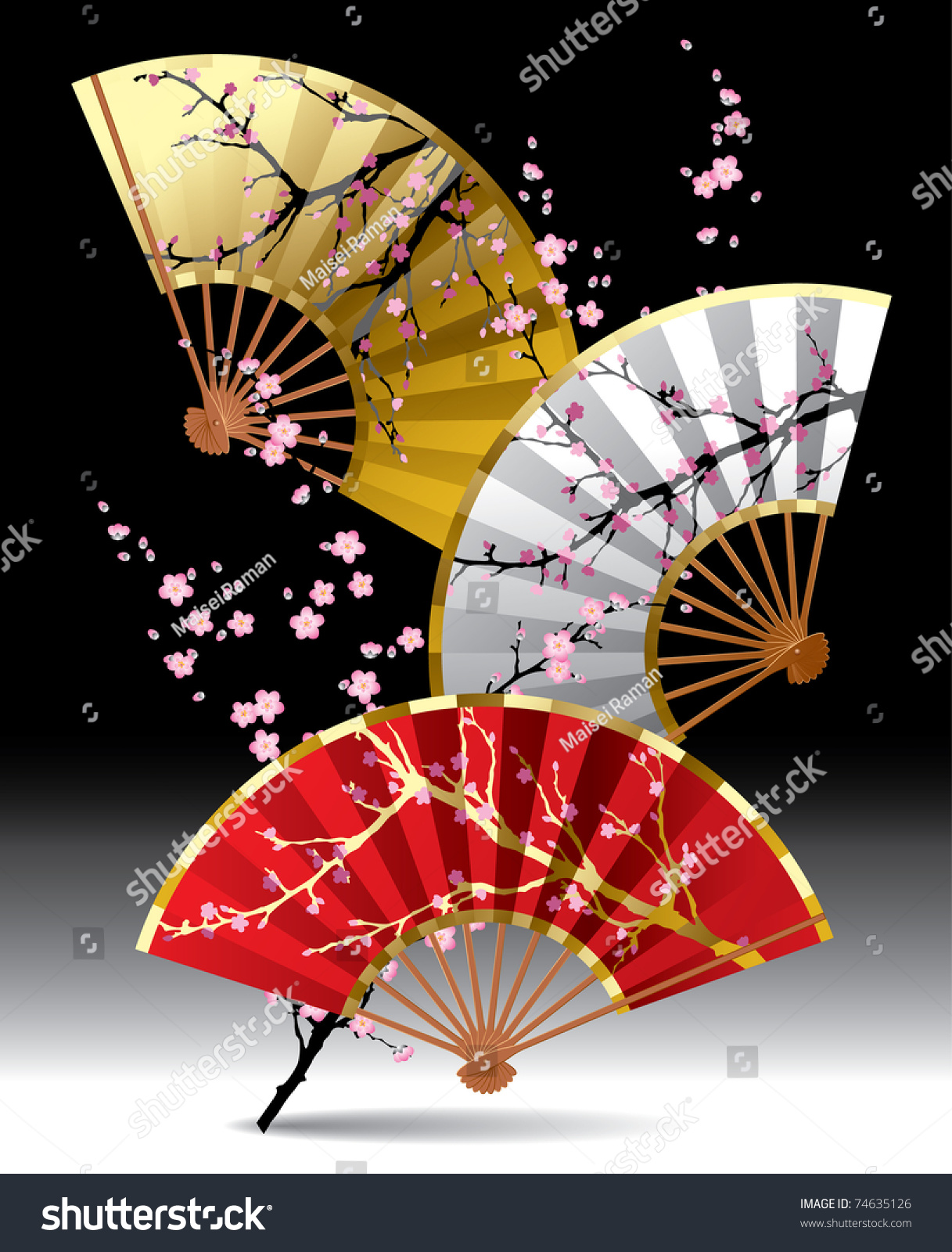 Vector Image Of Three Japanese Fans With A Cherry Blossom