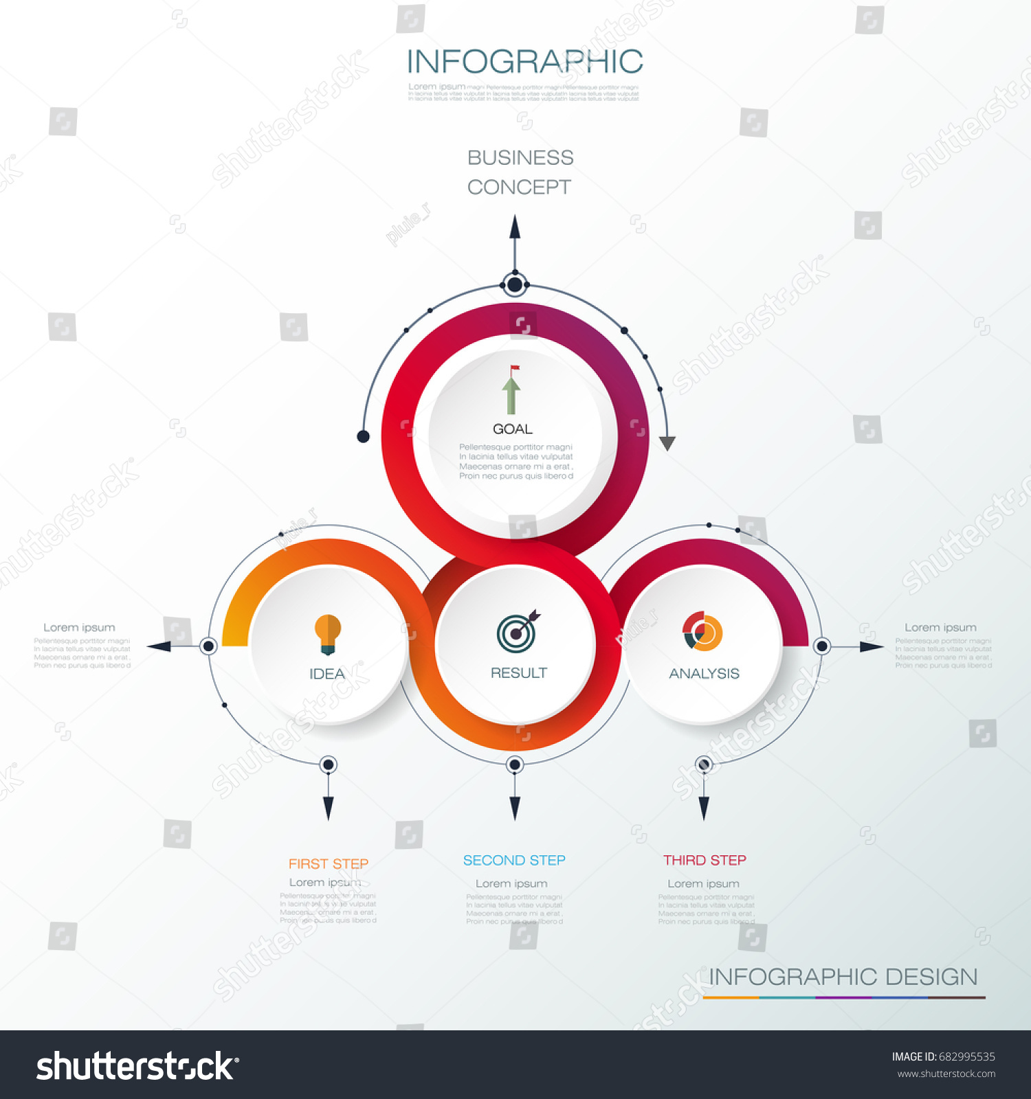3 arrow circle diagram rv battery charging wiring vector infographic 3d label design stock