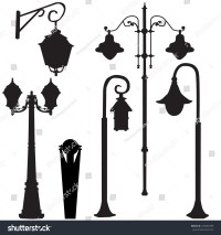Vector Isolated Silhouette Street Lamp Wall Stock Vector ...