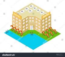 Vector Isometric Hotel Building Icon 3d Stock