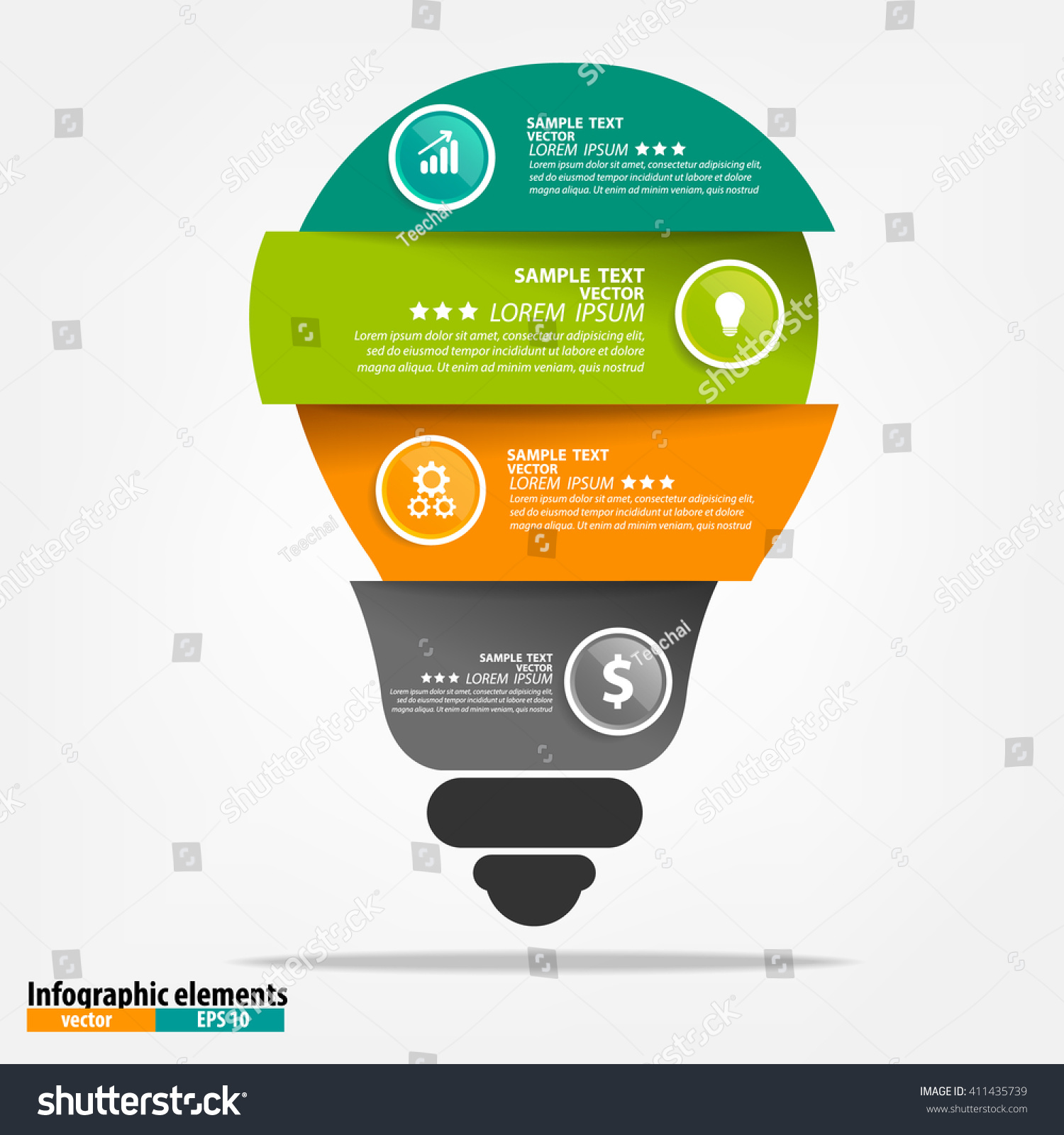 hight resolution of vector light bulb infographic template for circle diagram graph presentation chart