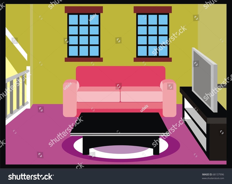 tv lounge sofa set pauline parmentier sofascore vector living room furniture table stock